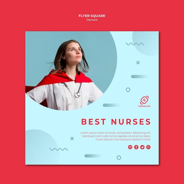 最高の看護師スクエアチラシテンプレート 無料 Psd