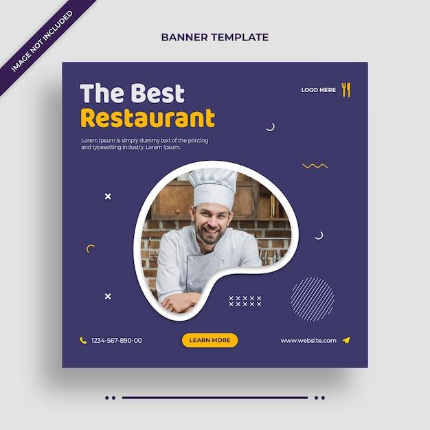 最高のレストランinstagramバナーまたはソーシャルメディアの投稿テンプレート Premium Psd