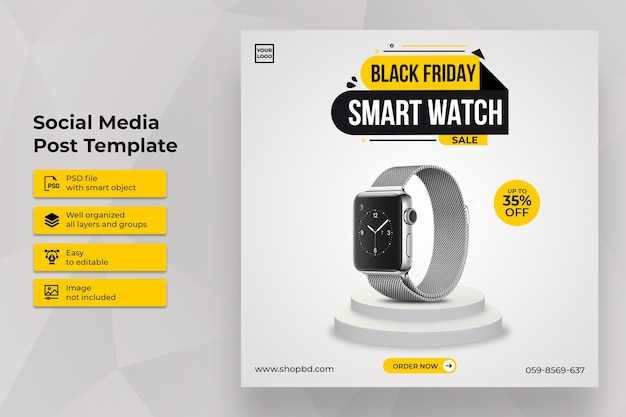 Best smartwatch black friday sale social media post template Premium Psd