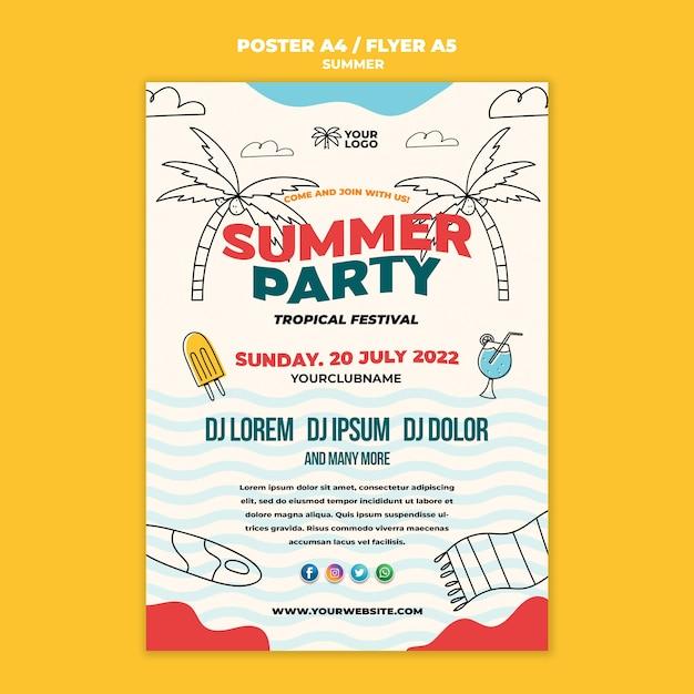 最高の夏のパーティーポスターテンプレート 無料 Psd