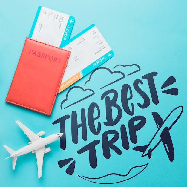 The best trip, motivational lettering quote for holidays traveling concept Free Psd