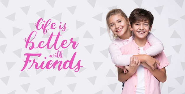 Better with friends boy and girl mock-up Premium Psd