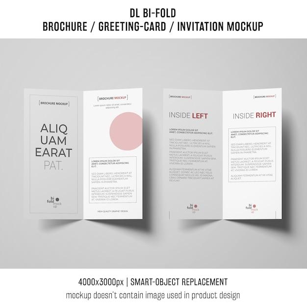 Bi-fold brochure or invitation mockup Free Psd