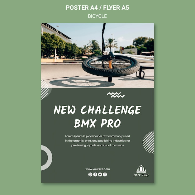 Bicycle flyer template concept Free Psd