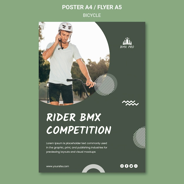 Bicycle flyer template theme Free Psd