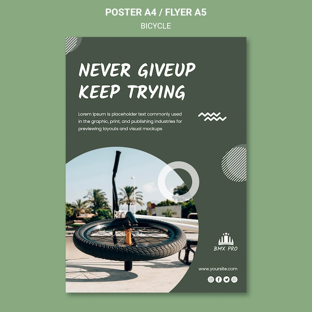 Bicycle flyer template Free Psd