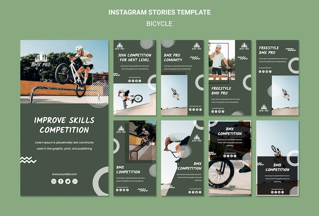 Bicycle instagram stories template Free Psd