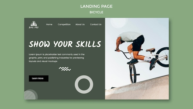 Тема целевой страницы велосипедов Бесплатные Psd