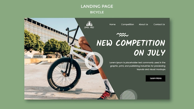 Bicycle landing page web template Free Psd