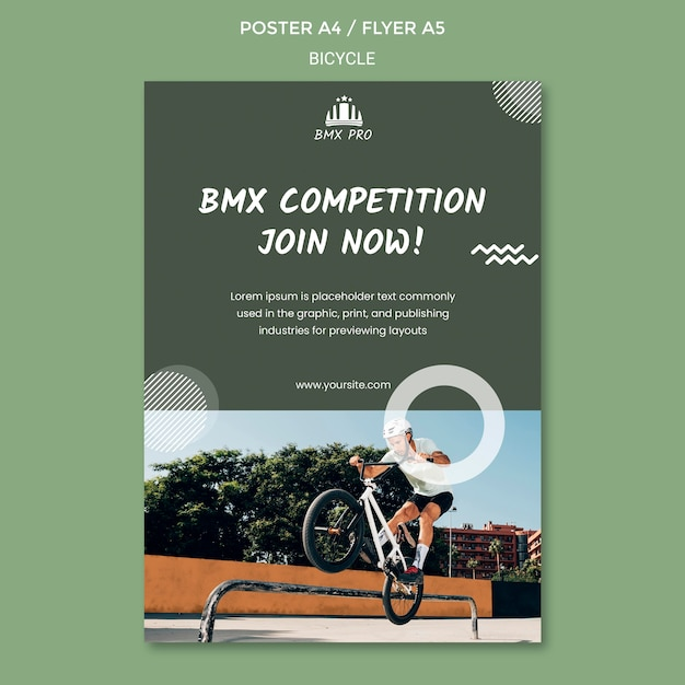 Bicycle poster template design Free Psd