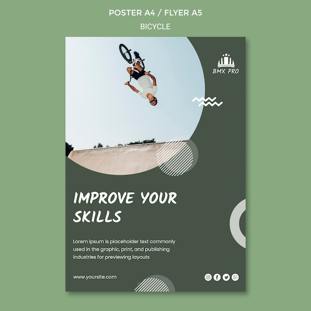 Bicycle poster template theme Free Psd
