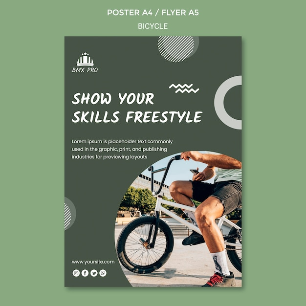 Bicycle poster template Free Psd