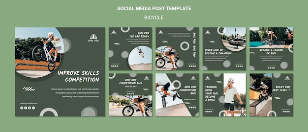 Bicycle social media post template Free Psd