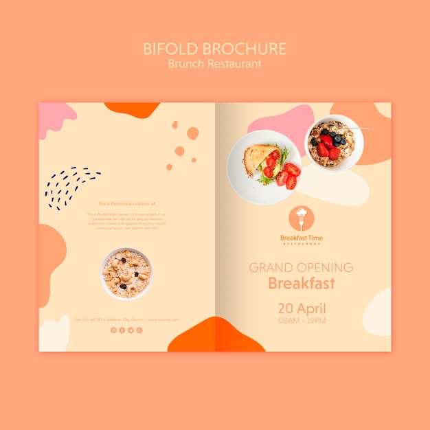 Bifold brochure for grand opening breakfast Free Psd