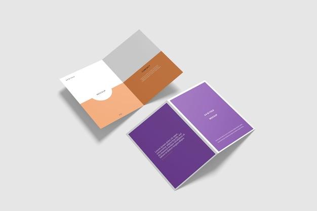 二つ折りパンフレットのモックアップ Premium Psd