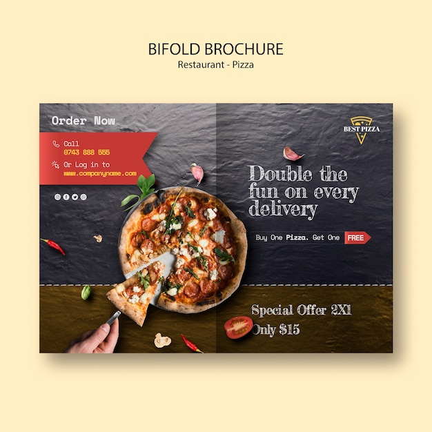 Bifold brochure for pizza restaurant Free Psd