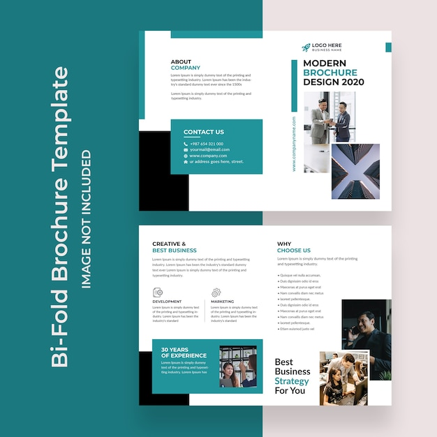 Bifold brochure template design design for corporate business agency