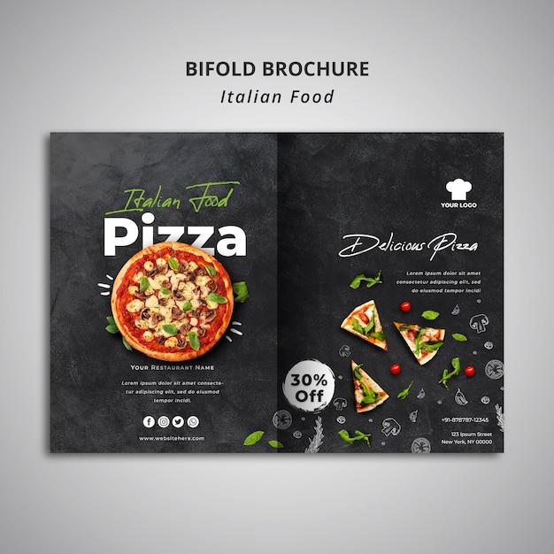 Двойной шаблон брошюры для ресторана традиционной итальянской кухни Бесплатные Psd