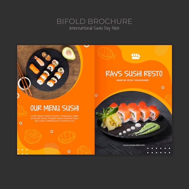 Bifold brochure template for sushi restaurant Free Psd