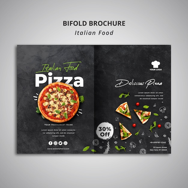 Bifold brochure template for traditional italian food restaurant Free Psd