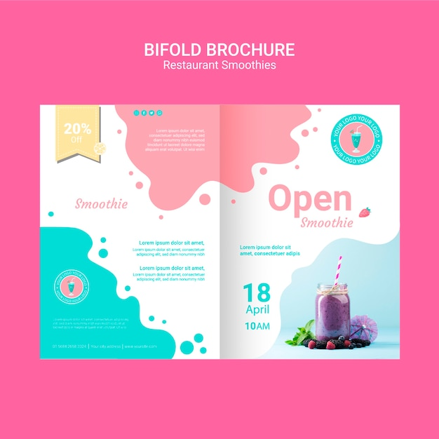 Bifold smoothie brochures template Free Psd