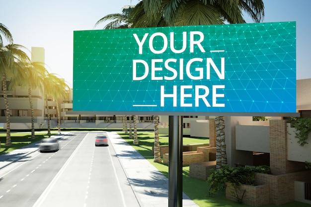 Big billboard on a road mockup Premium Psd