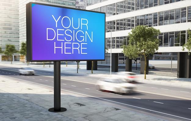 Big billboard on roadside 3d rendering Premium Psd