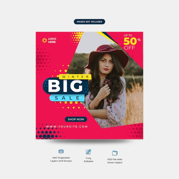 Big offer fashion social media post template Premium Psd