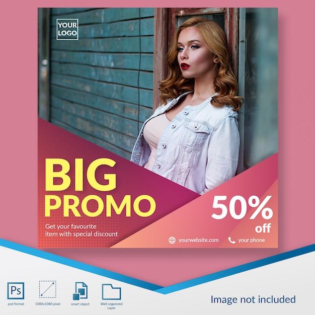 Big promo fashion sale social media post banner template Premium Psd