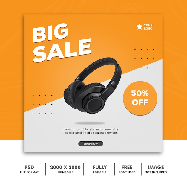 Big sale square banner for social media Premium Psd