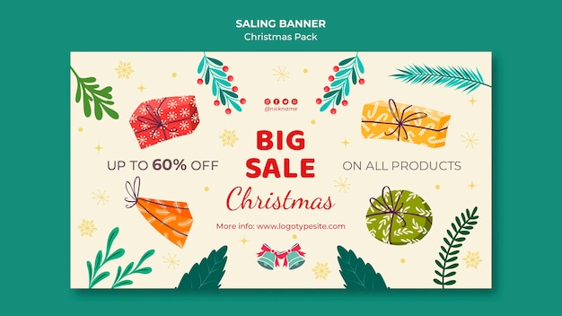 Big sale with discounts for christmas Free Psd