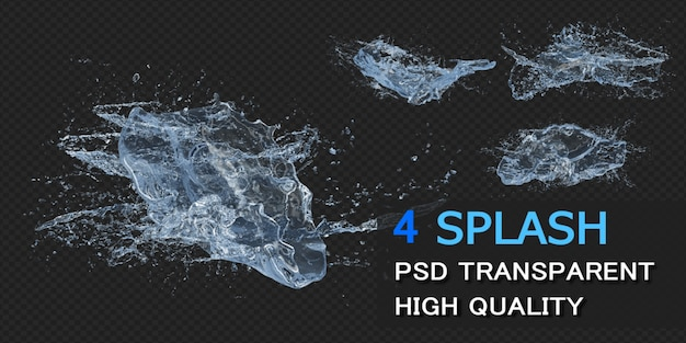 Big water splash with droplets pack design isolated Premium Psd