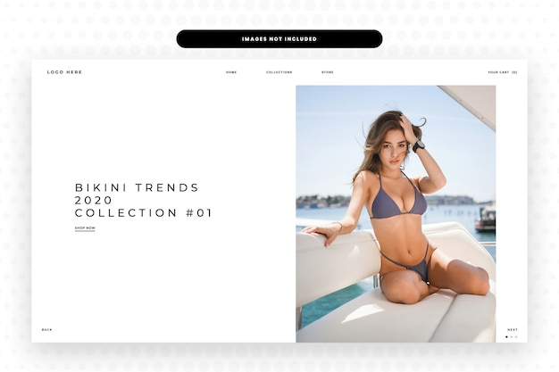 Bikini trends collection website landing page Premium Psd