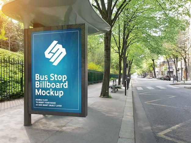 Billboard in bus stop mockup Premium Psd
