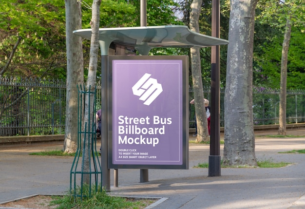 Billboard in bus stop mockup Premium Psd