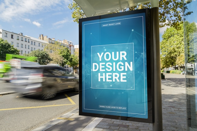 Billboard in a bus stop mockup Premium Psd
