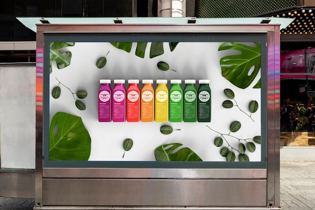 Billboard mock-up with colorful smoothies Free Psd