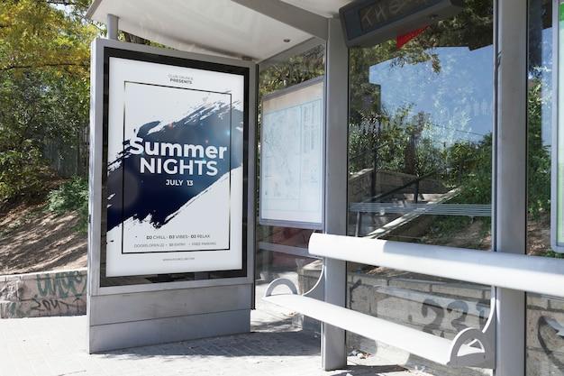 Billboard mockup on bus stop Free Psd