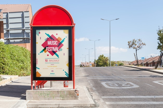 Billboard mockup on bus stop Free Psd