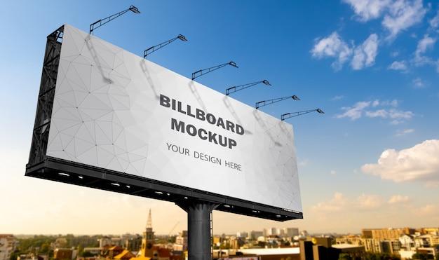 Billboard mockup displayed against the sky Premium Psd
