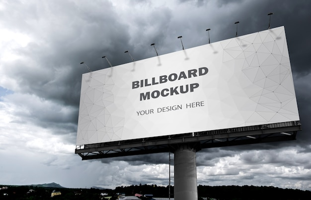 Billboard mockup displayed on the outdoor sky Premium Psd