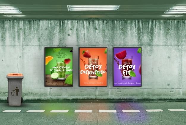 Billboard mockup in tunnel Free Psd