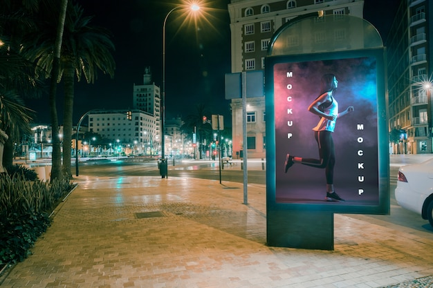 Billboard mockup at night Free Psd