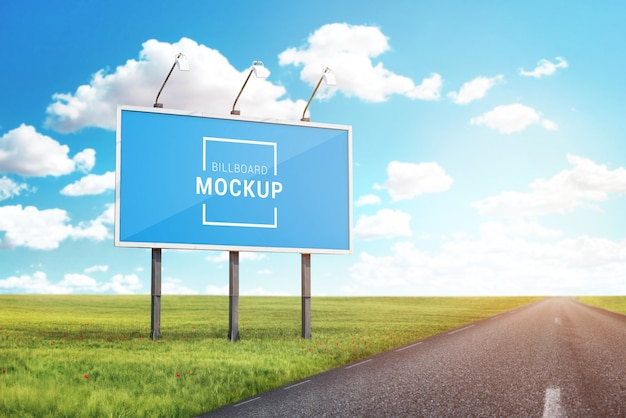 Billboard mockup for outdoor advertising poster promotion beside road Premium Psd