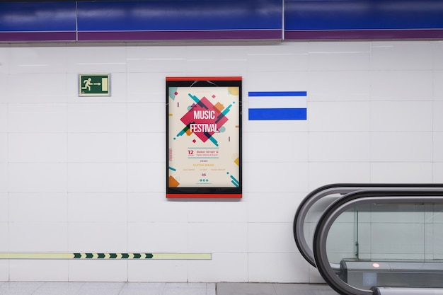 Billboard mockup in subway station Free Psd