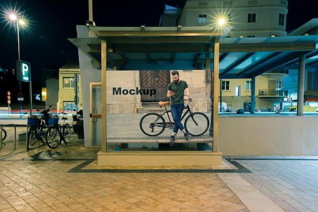 Billboard mockup at subway station Free Psd