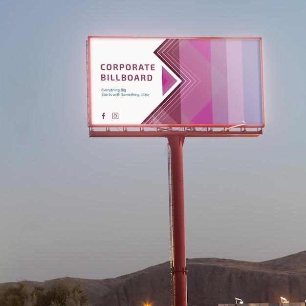 Billboard mockup on sunset sky Free Psd