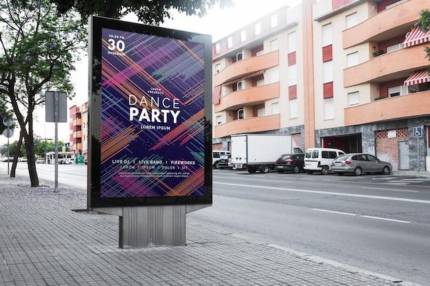 Billboard mockup in urban landscape Free Psd