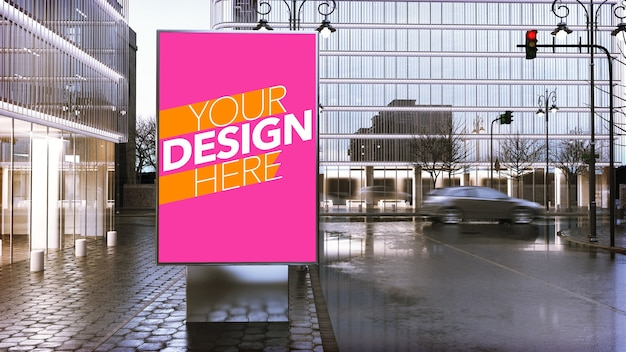 Billboard poster mockup in downtown of city Premium Psd