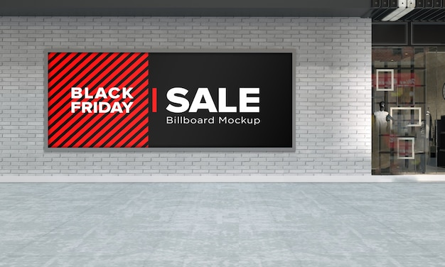 Billboard sign mockup in shopping center with black friday sale banner Premium Psd